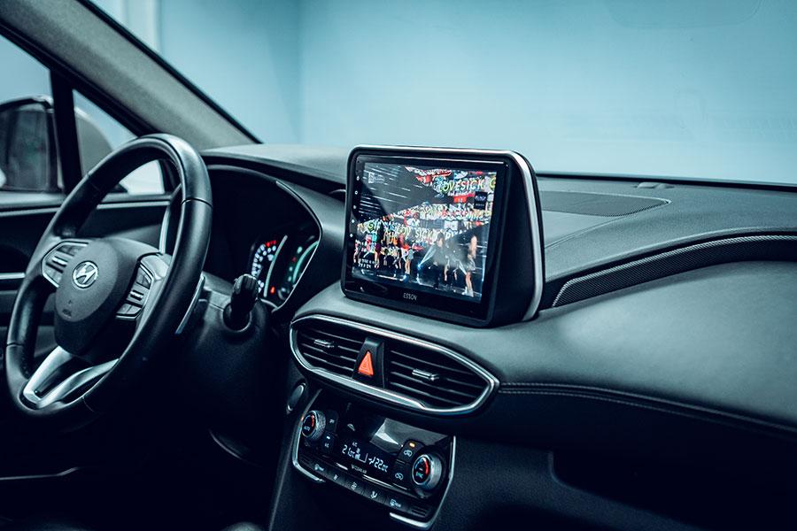 Man hinh dvd android cho xe Santafe