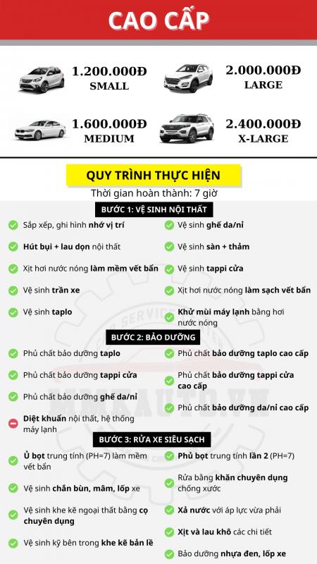 Bảng giá vệ sinh nội thất ô tô cao cấp